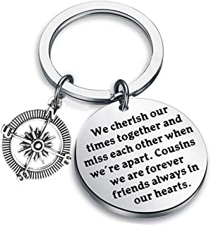 FUSTMW Cousin Gifts Long Distance Cousin Keychain Best Friend Jewelry Gifts We Cherish Out Times Together and Miss Each Other When We're Apart
