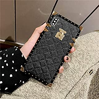 for Samsung Galaxy J6 Plus J6+ Grid Plaid Case,Luxury Diamond Skin Design Cute Slim Gold Square Protection Corner Trunk Back Case for Man Women Girl Phone Skin,Black