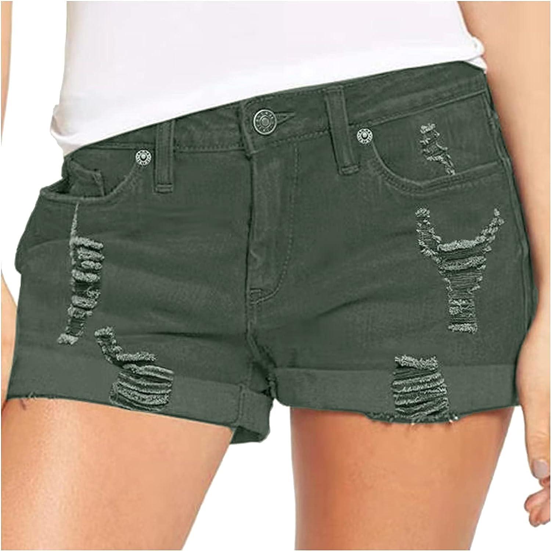 Uninevp Denim Shorts for Women High Waisted Ripped Denim Jean Shorts Summer Casual High Waisted Folded Hem Short Jeans