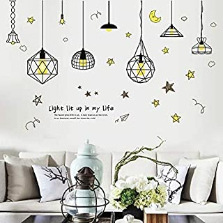 ZYZSLM Removable Art Vinyl Retro Edison Bulb Chandelier Wall Sticker Decal Mural Room Decor Vintage Light Bulbs Decal Sticker Posters