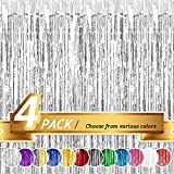 BTSD-home Silver Foil Fringe Curtain, Metallic Photo Booth Backdrop Tinsel Door Curtains for Wedding Birthday Bridal Shower Baby Shower Bachelorette Christmas Party Decorations(4 Pack, 12ft x 8ft)
