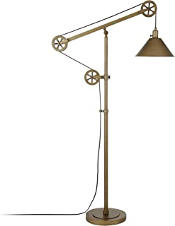 Henn&Hart FL0124 Industrial Antique Brass Lamp, Gold