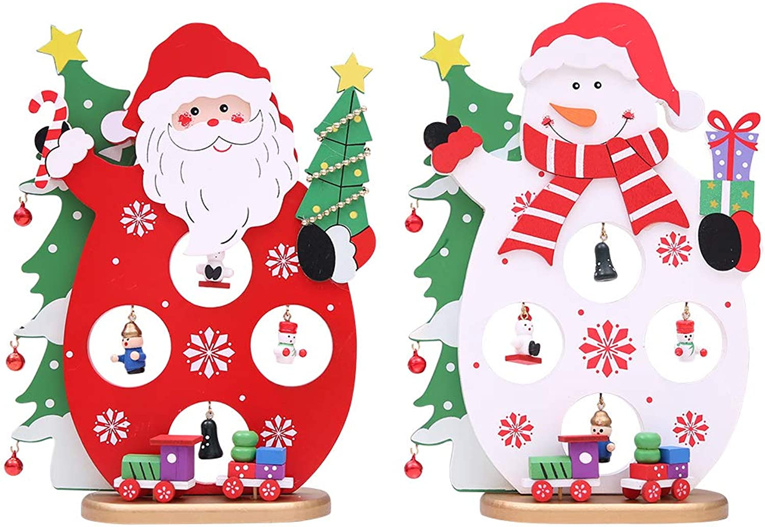 Christmas Decorations Christmas Wooden Three-Dimensional Decoration Cartoon Old Man Snowman Desktop Device Arrangement DIY 17  24Cm 2Pcs