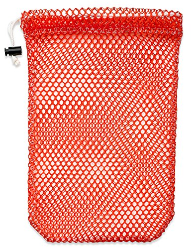 """Mesh Stuff Bag - 15"""" x 22"""" - Durable Mesh Bag with Sliding Drawstring Cord Lock Closure. Great for Washing Delicates, Rinsing Beach Toys, Seashell Collecting or Scout Mess Bags. (Orange)"""