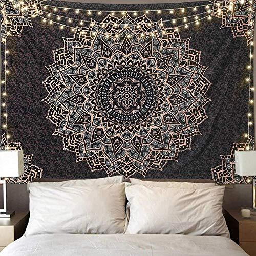 Tapiz con impresión 3D de mandala para colgar en la pared, diseño psicodélico, color negro y oro, decoración de pared india, bohemia, decoración del hogar, manta para dormitorio, sala de estar