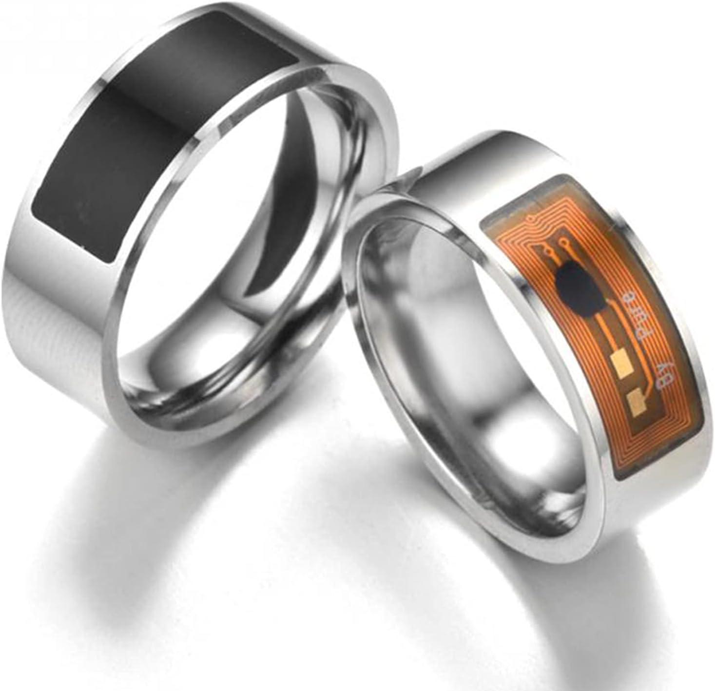 IYUNDUN NFC Men Magic Ring, Fashion Multifunctional Wearable Digital Waterproof Intelligent Finger Rings,Creative Useful Accessory Finger Control Ring (Color : Black, Size : 10#)