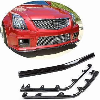 MCARCAR KIT Front Bumper Lip Splitter fits Cadillac CTS-V Coupe Sedan 2009-2015 | Customized Carbon Fiber CF Chin Upper Spoiler Vents Cover Flaps (Front Spoiler with bumper splitter 3pcs)