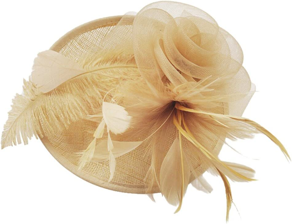 Sttech1 Women Bride Hat, Fascinator Mesh Hat Ribbons Feathers Wedding Party Hat (Coffee)
