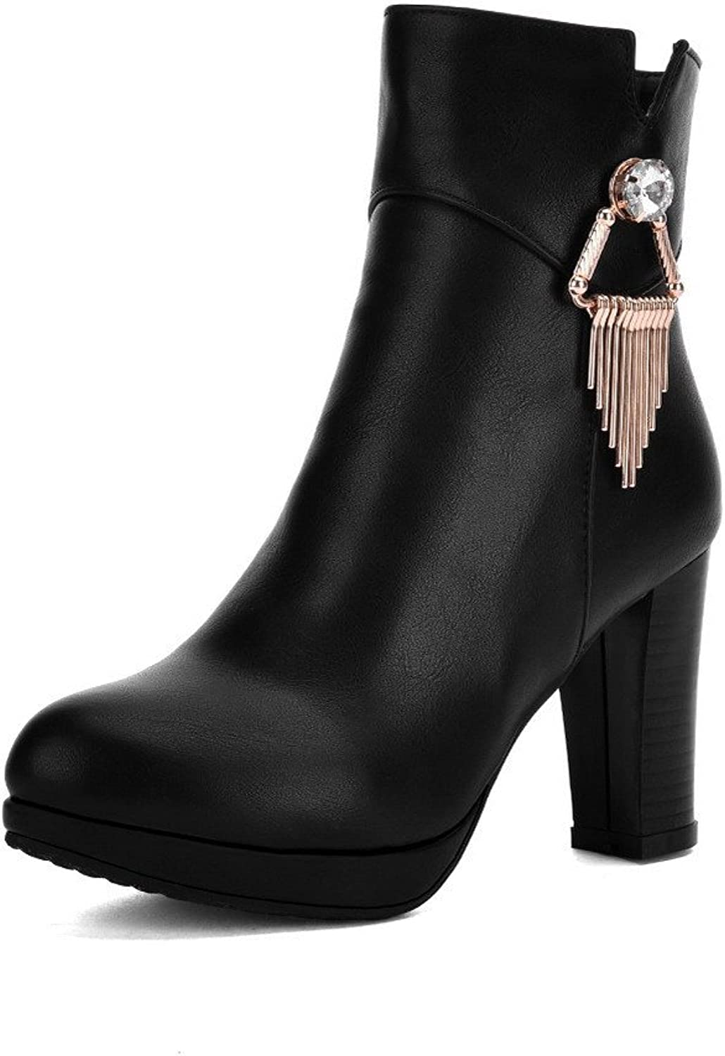WeenFashion Women's Low-top Zipper Soft Material High-Heels Closed Round Toe Boots