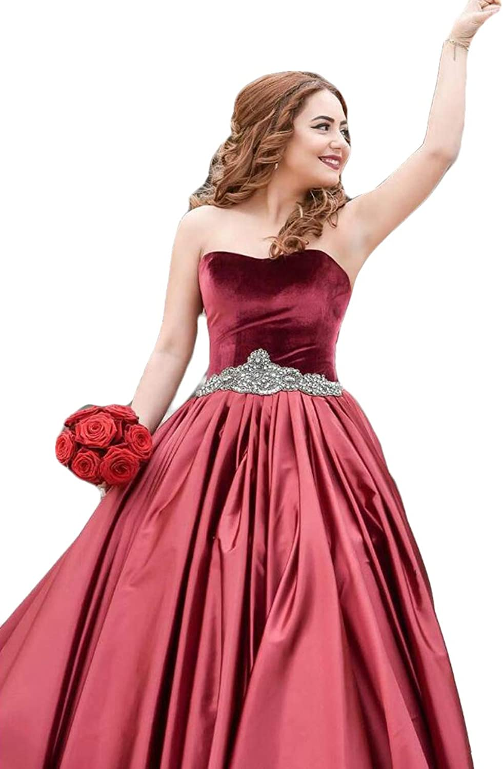 WZW Sweetheart Ball Gown Long Evening Dresses Burgundy Crystal Sash Special Occasion Formal Plus Size Prom Party Gowns