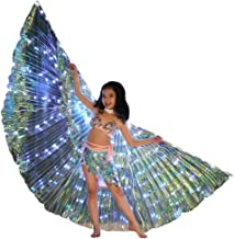 m·kvfa Children LED Wings Belly Dance Costumes Glowing Performance Clothing Glowing Isis Wings Cloak 360 Degree Belly Dance Costume