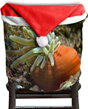 Ladninag Christmas Santa Claus Chair Back Cover Condylactis Xmas Red Hat Cat Chairs Slipcovers for Kitchen Dinner Table Party Home Decor Room Holiday Festive Set of 6