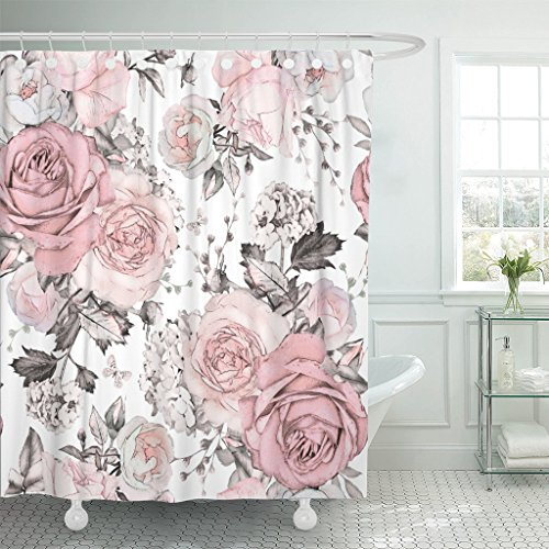 TOMPOP Shower Curtain Pink Grey Flowers and Grey Leaves on Watercolor Floral Pattern Rose Waterproof Polyester Fabric 72 x 72 Inches Set with Hooks