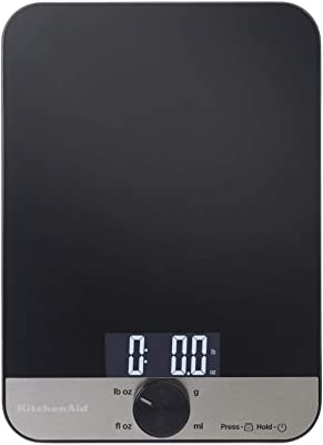 KitchenAid Báscula de cocina digital de vidrio de 5 kg, una parte superior de cristal