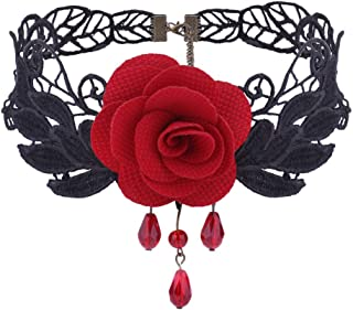 Clearance! Romantic Black Red Rose Choker Chunky Chain Bib Necklace Charm Women Lady Jewelry Pendant for Wedding,Bridal,Party,Anniversary,Engagement