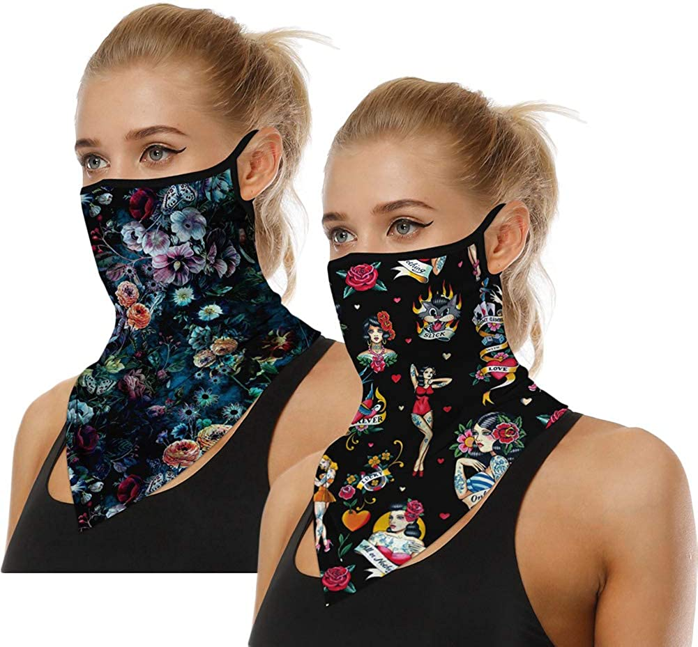 2Pcs Cooling Neck Gaiters with Ear Loops, Face Cover for Women Outdoor - Scarf Bandana Dust Wind Balaclava Headwear