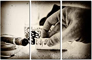 Vintage Conceptual Poker Hand Picture Canvas Art,Retro Photos Cigar Canvas Prints for Club Wall Decor,3 Pieces Stretched Wall Painting for Wall