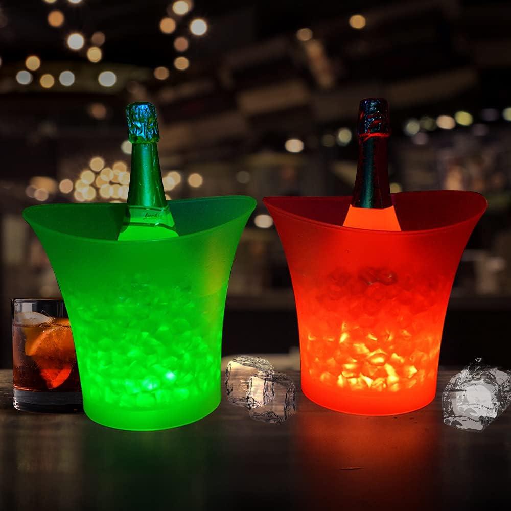 Cubitera LED de 5 litros de gran capacidad para cerveza, hielo, bebidas, con 7 colores degradados que cambian de color de plástico brillante, champán, vino, bebidas, enfriador para fiestas, casas