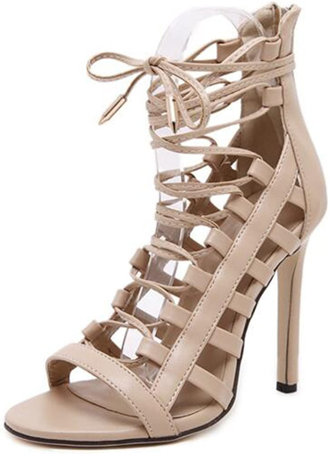 Colnsky Women's Sexy Strappy Stiletto Back Zipper High Heel Ankle High Bootie GladiatorSandals