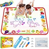 TECBOSS Water Drawing Mat, Aqua Magic Doodle Mat Large Mess Free, Kids Painting Writing Doodle Educational Toys for Age 2 3 4 5 Years Old Girls Boys Toddler