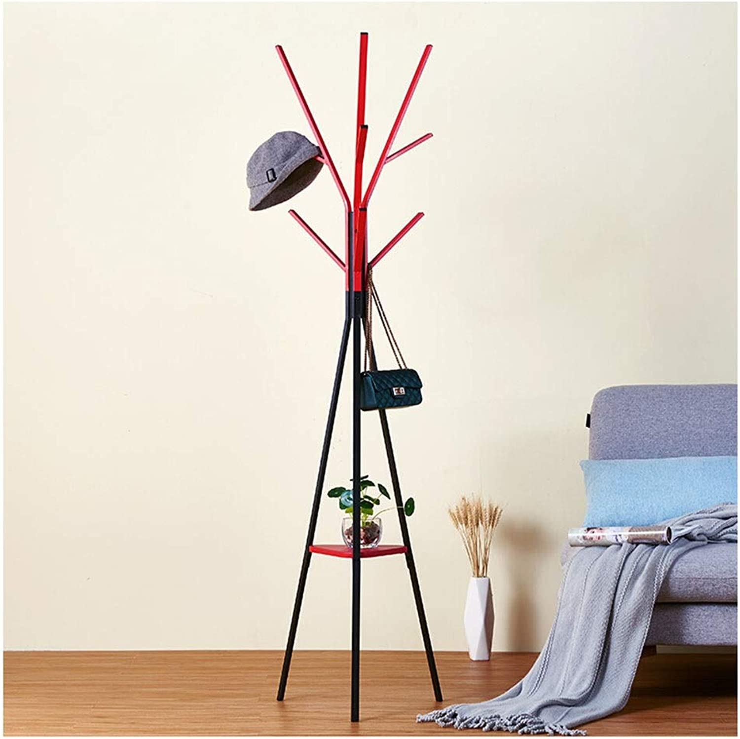 Qi_Hallway Furniture Standing Coat Racks Metal 6 Hook Hall Tree Entrance Corridor Coat Stand Clothes Rack Clothes Rack Coat Hat Bag Scarf Umbrella Stand Standing Coat Racks