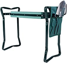 Goplus Folding Garden Kneeler Bench Heavy Duty Gardener Kneeling Pad Cushion with Tools Pouch (Green w/Tools Pouch)
