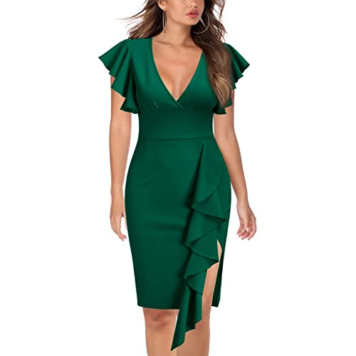 f6af2ef23781 Knitee Women s Deep-V Neck Ruffle Sleeves Cocktail Party Pencil Dress