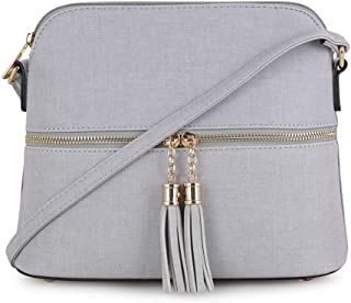 Lightweight Medium Dome Crossbody Bag with Tassel   Denim Inspired Texture PU Leather