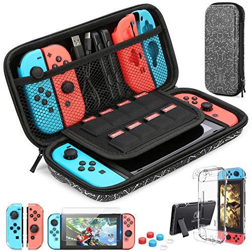 HEYSTOP Switch Tragetasche für Nintendo Switch Hülle mit Displayschutzfolie, 9-in-1 Nintendo Switch Zubehör-Kit und 6 Stück Daumengriff, Nintendo Switch Schutzhülle