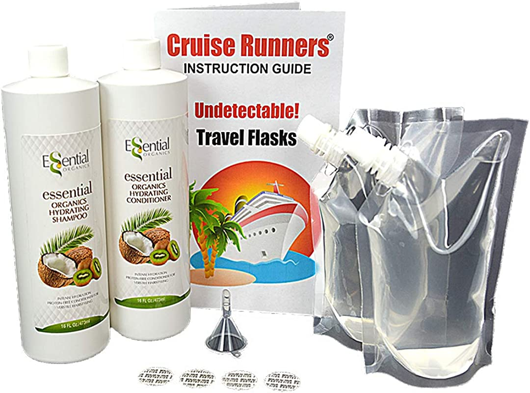 Fake Shampoo Conditioner Bottles Alcohol Flask Kit By CRUISE RUNNERS Sneak Smuggle Hidden Liquor Booze On Cruises Enjoy Rum Runners