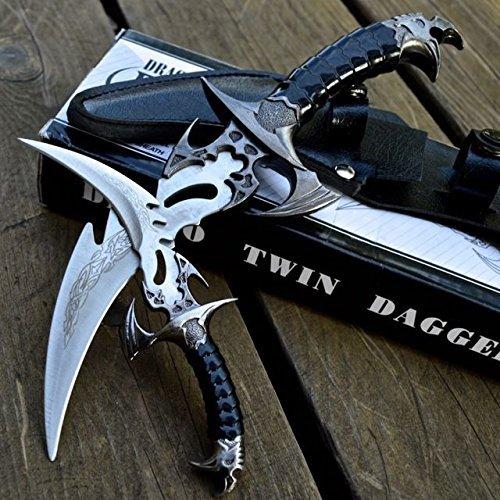 MOON KNIVES 2pc FANTASY CLAW Fixed Blade KNIFE TWIN DAGGER Set Draco w/ SHEATH