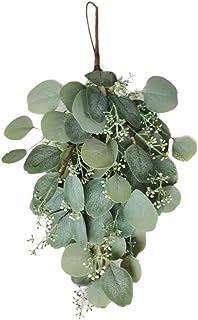 LampLust 18 Inch Eucalyptus Swag - Hanging Artificial Greenery, Flat Leaf and Seeded Eucalyptus Garland, Green Velvet Ribb...