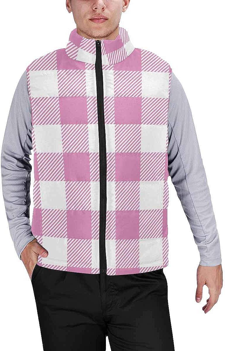 InterestPrint Men's Winter Full-Zip Outwear Padded Vest Coats Pink, Black, Gray Psychedelic Colors