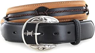 Justin Belts Fenced In Black and Brown Leather Belt