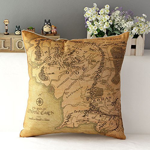 Kenneth case/Copricuscini e federe Lord of the Ring Cotton Cushion Cover Sofa Decorative Throw Pillow Chair Car 18X18 Inch(One Side)