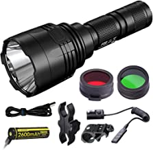 Nitecore P30 1000 Lumens 676 Yards Red and Green USB Rechargeable Hunting Light with Lumentac Rifle Mounting Kit for Hog Coyote and Varmint Hunting