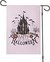 Time Roaming Happy Halloween Garden Flag Double-Sided Burlap Pumpkin Castle Bat Decorative Flag 12x18 inch