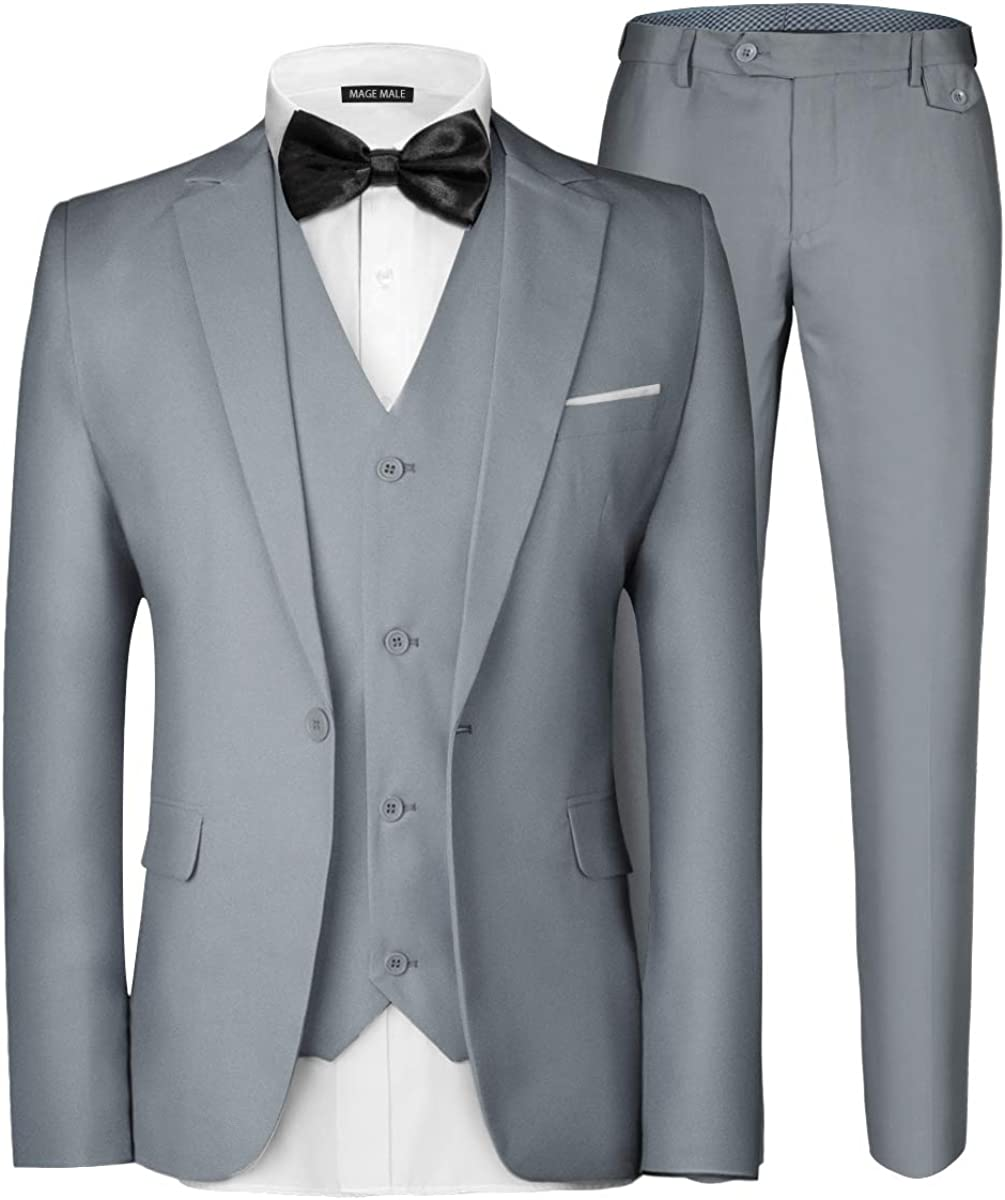 MAGE MALE Men's 3 Pieces Suit Ranking TOP16 One Elegant Max 84% OFF Slim Button Solid Fit