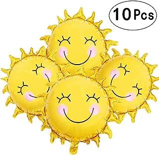 Sunshine Sun Smile Face Shaped Foil Mylar Balloons Helium Balloon Happy Birthday Sunny Summer Day Theme Party Supplies Wedding Decorations, 10pcs