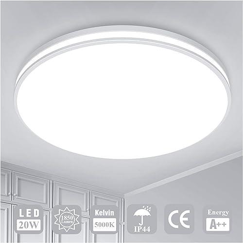 Luminaire Plafonnier LED Salle de Bain Lampe Plafond Öuesen 20W 1850LM IP44 5000K Blanc Froid Brillant Moderne Plafon...