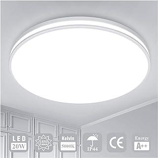 Luminaire Plafonnier LED Salle de Bain Lampe Plafond Öuesen 20W 1850LM IP44 5000K Blanc Froid Brillant Moderne Plafonnier ...