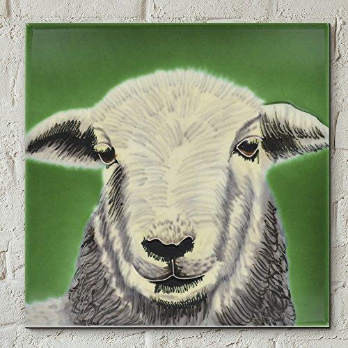 Tableau décoratif de mouton Herdwick par Sonia Johnson - En céramique - 20 x 20 cm - Décoration pour la cuisine ou la salle de bains