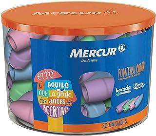 Borracha Ponteira, Mercur B01010601018, Multicor, Pacote de 50