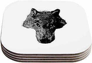 """قواعد أكواب بتصميم بارماليسي آر تي بي """"بلاك كويوت"""" باللونين الأسود والأبيض (مجموعة من 4 قطع)، مقاس 10.16 سم × 10.16 سم، مت..."""