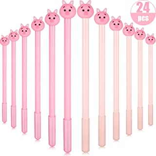 24 Pieces Cute Pig Writing Gel Ink Pen Pig Roller Ball Gel Pen with 0.5 mm Fine Point Black Ink for Office School Writing