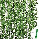 EQLEF Ghirlanda di edera Artificiale con Foglie di edera Verde, Confezione da 24 Pezzi ciascuna, per Decorare pareti, recinzioni, con 50 Fascette