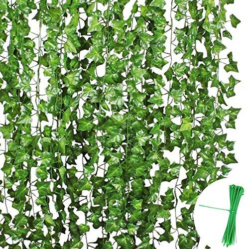 EQLEF Lot de 24 guirlandes de Lierre artificielles Vert Vigne 20,3 cm chacune pour décorer Une clôture Murale ou Un Jardin extérieur pour fête de Mariage ou Noël avec 50 Attaches de câble.