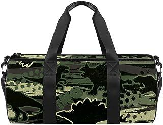 DJROWW Schultertasche mit Camouflage-Dinosaurier-Motiv, Segeltuch, Reisetasche für Fitnessstudio, Sport, Tanz, Reisen, Wochenender