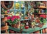 Sweet Home Gatos y GARDENNING, 14ct de punto de bordado de punto de cruz de Kits, 400x 286stitch, 82x 63cm egipcio algodón de punto de Kits de punto de cruz, diseño de paisaje