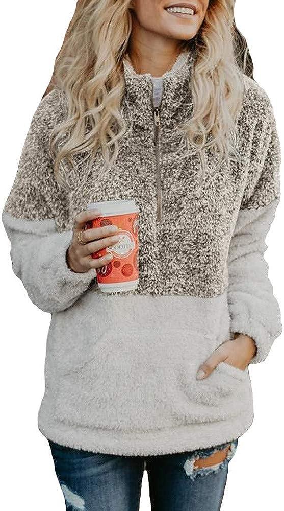F_Gotal Girls Casual Women Long Selling rankings Sleeve Sales Zipper Sweatshirt Sherpa